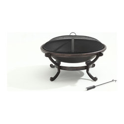 "Crosley - Outdoor 35"" Cast Iron Fire Pit - Dimensions:  40.5 x 40.5 x 40.5 inches"