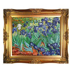 "overstockArt.com - Van Gogh - Irises Oil Painting - Hand painted oil reproduction of a famous Van Gogh painting, Irises. The original masterpiece was created in 1889. Today it has been carefully recreated detail by detail, color by color to near perfection. Why settle for a print when you can add sophistication to your room with a beautiful fine gallery reproduction oil painting? Irises was one of the first paintings Van Gogh did while he was at the asylum at Saint-Remy in the last year before his death in 1890. This painting was influenced by Japanese prints, like many of his works. Theo, Van Gogh's brother loved the painting and commented: ""[It] strikes the eye from afar. The Irises are a beautiful study full of air and life."" Vincent Van Gogh's restless spirit and depressive mental state fired his artistic work with great joy and, sadly, equally great despair. Known as a prolific Post-Impressionist, he produced many paintings that were heavily biographical. This work of art has the same emotions and beauty as the original. Why not grace your home with this reproduced fine gallery Van Gogh masterpiece? It is sure to bring many admirers!"