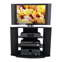 "Sonax - Sonax Rio Black TV Stand for 32-42 Inch Flat Panel Plasma/LCD TVs - Sonax - TV Stands - RX3500 - Ideal for all areas of your living space including corners the Rio Collection features a solid engineered wood construction with child friendly profiled edges. UV cured black lacquer finish means seamless durability and resistance to scratching and water. Accommodating most TV's up to 42"""" the RX-3500 comes with clear tempered glass shelves and a cable management system. Bring home this contemporary furniture by Sonax proudly built in North America."