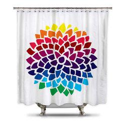 Shower Curtain HQ - Catherine Holcombe Rainbow Dahlia Fabric Shower Curtain, Extra Long - Standard Size: 70 x 70