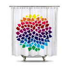 Shower Curtain HQ - Catherine Holcombe Rainbow Dahlia Fabric Shower Curtain, Extra Long - Standard Size: 70 x 70