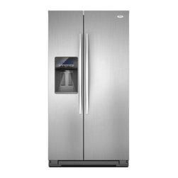 """Whirlpool - WSF26C2EXF 36"""" 26 cu. ft. Side-by-Side Refrigerator with  ENERGY STAR Qualificat - Whirlpool WSF26C2EXF 26 cu ft Side-by-Side Refrigerator with ENERGY STAR Qualification In-Door-Ice Plus Ice Dispensing System Temperature Management Technology and Wide Open Doors Stainless Steel"""