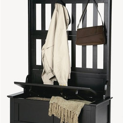 HomeStyles - Hall Tree in Black Finish - A hall tree is one of the most gracious ways to decorate an entry and to welcome guests. This classic has all the favorite features including coat hooks and a storage bench with hinged lid. Black finish is a striking combo with country charm. * Full lift top storage bench with safety hinge. Four large silver cikir hooks for hanging coats and hats. Clear coat finish helping to protect against wear from normal use. Made from Asian solid hardwood. Made in Thailand. 35.75 in. W x 16 in. D x 63 in. H. Assembly InstructionsOur handsomely designed hall tree will provide convenient storage for the hallway, mud room, great room or even the kitchen! Storage provided beneath the hinged seat is welcomed in any home.