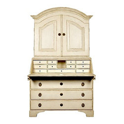 Chelsea Textiles - Swedish Secretaire - Swedish Secretaire with Writing Desk/Bureau Hand carved and hand painted Solid wood legs and frame