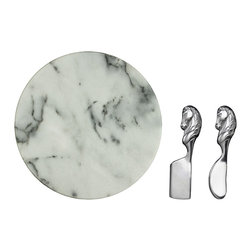 "Arthur Court - Horse Cheese Set with 12"" Marble - Knives 6-1/2"" Long. Cheese knife with spreader and the 12"" marble is the perfect size for soft and hard cheeses and accompaniments in your design of choice."