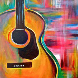 "Guitar 1 (Original) by Bri Dill - This painting is one of 75+ 16x20"" paintings  I created over the past 7 months in order to gain a better understanding of my creative identify, techniques, strengths and weaknesses. No matter the subject, the vibrant colors and graphic nature create a bold statement that visually describes my mental and emotional connection to the process of creating art."