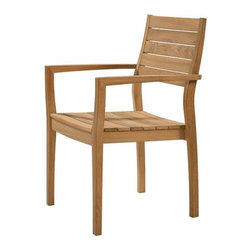 """Barlow Tyrie - Horizon Teak Stacking Lounge Chair - This stylish and comfortable teak armchair is an extremely well crafted piece of outdoor furniture. The teak frame is constructed of high grade, plantation grown teak wood. These chairs are stackable, making it easy to store them when not in use. After a few months in the open, the teak with weather to a beautiful silver and gray color. Features: -Arm chair. -Horizon collection. -Teak frame. -Textilene sling. -Stackable. -Suitable for commercial or residential use. -Dimensions: 36.75"""" H x 22.5"""" W x 26.5"""" D."""