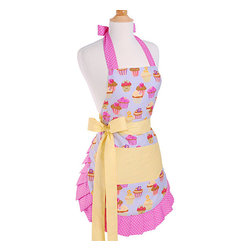 Flirty Aprons - Frosted Cupcake Women's Original Flirty Apron - The Frosted Cupcake apron is inspired by a baker's dream. The cupcake theme makes this apron fun for bakers of all ages. Neat pleats along the edge and cute girlie colors give this apron a flirty look as the long thick ties create a perfect fit.