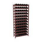 72 Bottle Stackable Wine Rack in Redwood with Cherry Stain + Satin Finish - Four kits of wine racks for sale prices less than three of our 18 bottle Stackables! This rack gives you the ability to store 6 full cases of wine in one spot. Strong wooden dowels allow you to add more units as you need them. These DIY wine racks are perfect for young collections and expert connoisseurs.