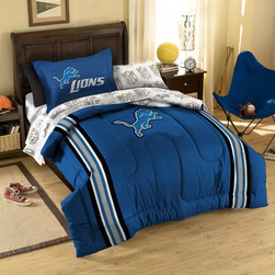 Northwest Co. - NFL Detroit Lions Bed in Bag Set - Web Description: Make a proud statement in your room for your favorite NFL team with our 5 piece Bed in a Bag Set. Whether game night or just another night for sleeping, the bold and large applique logo stands out against the solid color background and team color accented stripes, making quite the impression. This polyester/cotton blend set comes with 1 sham, 1 pillowcase, 1 flat sheet, 1 fitted sheet and 1 applique comforter.