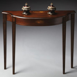Butler - Plantation Cherry Console Table - Curved top. Both top and apron front with linen-fold pattern inlays of maple and walnut. Tapered legs. Made from hardwood solids. 36 in. W x 12 in. D x 32 in. H (30 lbs.)This Pembroke-inspired console is highly elegant, yet unpretentious. Plantation Cherry represents Butler's tribute to tradition to the classics of Western culture from the timeless 18th century designs of Chippendale, Sheraton and Hepplewhite, to the best furniture in the finest homes when Americans declared their independence. Examine closely the fine woods, veneers, inlays and finishes of the Plantation Cherry Collection.