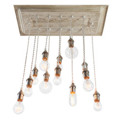 "Urban Chandy - Reclaimed Ceiling Tins Repurposed into Chandelier with varying Edison bulbs, Ant - Reclaimed ceiling tin tiles from old warehouse in Texas repurposed into a hanging light fixture chandelier with 16 pendant lights with varying Edison bulbs. Base is 22""x22"" and lowest bulb hangs down 28"" from base. Length can be adjusted longer/shorter based on your ceiling height. Bulbs and some hardware included. Made to order in Brooklyn, NY, ships in 5-10 business days. Only one connection point on top to power source. Total 258 watts, 120 volts.  We can make it in lots of colors: antique gold, copper, black, antique white, red, blue, pewter, antique silver, dark brown with metallic (black coffee)...let us know if you need something else!"