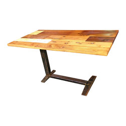ReCoop Designs - Mixed Species Reclaimed Desk - This desk is made from reclaimed Cedar, White Pine, Antique Red Pine, and Yellow Pine. Finished with all natural plant based oils. This piece can function as a desk or small breakfast table as the unique base allows 360 degree seating. There will be a couple of weeks lead time to create a custom size table.
