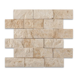 "Tiles R Us - Ivory (Light) Travertine 2 X 4 Split Face Mosaic Tile, Box of 5 Sq. Ft. - - Ivory (Light) Travertine Premium Quality 2"" X 4"" Split Face Mosaic Tile."