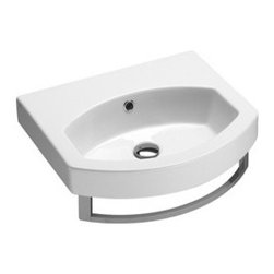 GSI - Curved Ceramic Wall Mounted, Vessel, or Self Rimming Bathroom Sink - Luxury modern and contemporary curved wall mounted, vessel, or self rimming bathroom sink. This sink includes an overflow and has the option for no faucet holes, one hole, or three holes. Made in Italy by GSI.