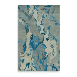 Rizzy Home - Rizzy Home Highland Rug in Grey/Blue - A fusion of fine craftsmanship and sophisticated artistry, the Highland area rug is a true work of modern art. Hand-tufted from superior quality wool, this rug features a bold, refreshing design in an eye-pleasing, abstract style.