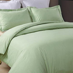 Hotel Grand Collection - Sage 230-Thread Count Duvet Cover Set - Add this elegant and incredibly soft duvet cover to your bed to make counting sheep a thing of the past. Whether updating the master bedroom or guestroom, this piece of bedding is sure to warm up décor.   Includes duvet cover and two shams (twin sizes include one sham) 100% cotton 230-thread count Machine wash Imported