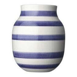 Medium Violet Omaggio vase - If the contents of clothing stores are any indication, then we've all got stripes on the brain. The classic pattern gets somewhat softened on this vase, thanks to hand-brushed strokes and a pleasing violet tone.