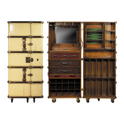 """Ivory Stateroom Bar - The ivory stateroom bar measures 23.25 x 24.5 x 58"""". Fun and functionality coalescing into an impressive piece of historic proportions. Wheel in the bar! Park and lock it somewhere close at hand! Made in the style of turn of the century travel trunks. Solid brass hardware and bridle leather handles both inside and out. Completely hand built, two part bar inside a large trunk set on sturdy wheels. A multitude of drawers, two serving trays, wood racks for both horizontal and vertical bottles. Mirror and foldout work shelf for added workspace. Taking out the shelf unit on the right frees up a removable game board (backgammon  chess). Storage for 15 wine bottles. Future party animal and classic trunk replica. Iconic. Confidently evocative of the belle epoque when a hunt required only a martini or a whiskey sour at hand!"""