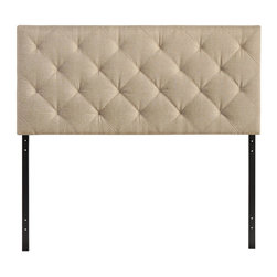Modway - Modway MOD-5040 Theodore Queen Headboard in Beige - The versatility of this element of decor emphasizes its importance. As the headboard functions as the centerpiece of your bedroom, Theodore's deep button tufting makes sure to convey a classic style that can't be dressed down. Fully upholstered in padded faux leather, the Theodore headboard imbues a strong sense of style, while presenting a modern piece full of boxy lines that accessorize with many looks.