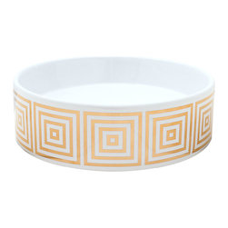 Decorated Porcelain Company - Big Squares Hand Painted Sink - Modern interpretation of the classic Greek Key design painted on this vessel sink looks great in any bathroom style from traditional to modern. Big (metallic gold) Squares on a petite round vessel sink. All of our fixtures are hand-made to order in the USA and kiln-fired for long-lasting durability.