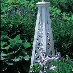 Lattice Obelisk with Sphere Top - http://www.walpolewoodworkers.com/garden-decor/kitchen-garden/wooden-obelisk.aspx#.UTw90db-HfI