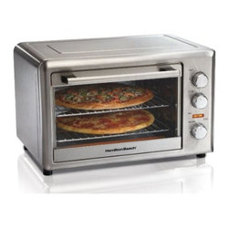 """Hamilton Beach - Hamilton Beach Countertop Oven Black - This Hamilton Beach 31104 black countertop oven provides maximum versatility in that it features both convection baking and also has a revolving rotisserie. Its extra large capacity fits two 12"""" pizzas two 9""""X13"""" casseroles or two cake pans. Meat self-bastes as it turns on the rotisserie that fits a 5 lb. chicken. Convection bakes faster and more evenly than a traditional oven. It features bake and broil settings and a two-hour timer. Comes with two cooking racks two baking pans broiler rack and rotisserie accessories."""