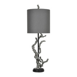 "Crestview - Crestview CVAUP717 Twisted Branch Table Lamp 43.5""Ht - Twisted Branch Table Lamp 43.5""Ht Twisted Branch Table Lamp 43.5""Ht.,Resin Bleached Gray Finish 15x15x15 Charcoal Gray Linen Shade Table Lamp 43.5""Ht., with 15x15x15 Charcoal Gray Linen Shade"