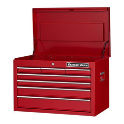 Extreme Tools - Steel 7-Drawer Professional Locking Tool Chest - Made of Steel. 7 drawers Top Tool Chest. High gloss powder coat finish. Theft proof lock system. Ball bearing glides. 50 lbs. rating per drawer. Red finish. 26 in. W x 16 in. L x 18 in. H (62 lbs.)