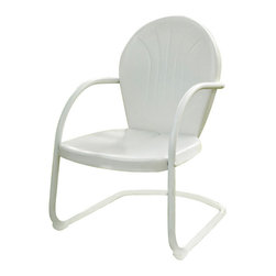 Crosley Furniture - Crosley Furniture Griffith Metal Chair in White - Relax outside for hours on our nostalgically inspired Griffith metal outdoor furniture. Kick back while you reminisce in this sturdy steel chair, designed to withstand the hottest of summer days and other harsh conditions. The chair's non-toxic, powder-coated finish is available in various colors to complement your outdoor accessories.