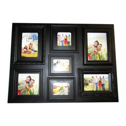 Melannco - Mellanco 7-opening Multiple Profile Black Collage Photo Frame - This Melannco 7-opening Multiple Profile Black Collage Photo Frame creates a collage by combining seven frames with unique, classic designs in a black finish. The look combines the sophistication of tradition with contemporary style.