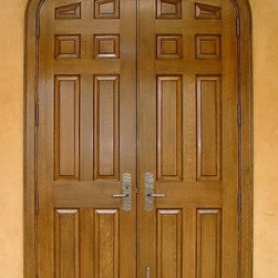 Interior Doors - Gothic arch top stained Quarter Sawn White Oak double doors.