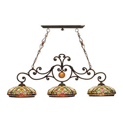 Dale Tiffany - Dale Tiffany TH101071 Boehme 3 Light Hanging Fixture - Shade: Hand Rolled Art Glass
