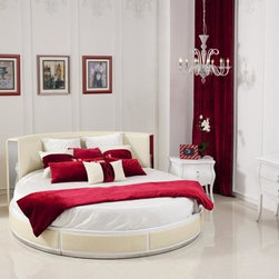 Luxurious Bedroom Collection - BUYS- OPHELIA Temptation Modern Round Italian Leather White High Gloss Finish Unique Design Bed