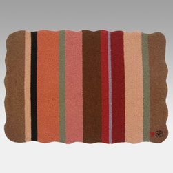 Susan Branch - Susan Branch Yipes! Stripes! Rug - SB-0038 - Shop for Rugs and Runners from Hayneedle.com! You can't go wrong with stripes! Warm up any space with the Susan Branch Yipes! Stripes! Rug. Bold swipes of brown pink and sage create an instant focal point in kitchens dens and cafes. This rectangular rug is hand-hooked from 100% wool and has a density of 90 lines per square foot for a tight dense softness; it measures 36L x 24W inches. Designed for indoor use in residential or commercial settings.About Thorndike MillsRooted in a proud Armenian family tradition Thorndike Mills developed in Boston during the first half of the 20th century. Their dedication to the quality traditions of Armenian rug-making remains true today. With an emphasis on exact specifications materials that meet high levels of quality and rigorous construction standards they're a top producer of braided rugs for homes and businesses across America. Thorndike Mills is the only manufacturer who still produces true cloth braided rugs made with three strands woven together and then wrapped; the next best option would be a handmade rug. The true quality of the rugs lies in the little details like hidden joints guaranteed color matching perfect symmetry of design and durable lock-stitch sewing. Thorndike Mills is still owned today by the third generation of the founding family.About Susan BranchSusan Branch is a self-taught artist from the Martha's Vineyard area who creates delicate organically inspired works that celebrate nature and simplicity. She has previously been featured in magazines including Country Living and American Patchwork and Quilting. Susan is best known for her beautiful watercolor illustration work which graces her 14 published books as well as a line of china stationery pajamas and her popular yearly calendar.