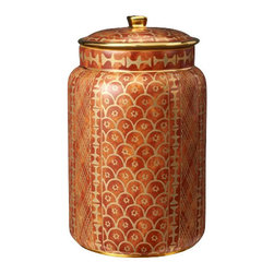 "L'Objet - L'Objet Fortuny Canister, Ashanti Orange, Large - L'Objet Fortuny Canister Ashanti Orange Large The artisans of Venice inspire us. Their carefully guarded secrets of technique have been handed down directly from the ancient world, one generation of skilled hand-crafters to the next. There is one who especially speaks to the heart of L'Objet - the legendary fashion and textile designer Mariano Fortuny - revealing a deep and kindred connection that transcends time. It sets the pattern and pace of this collaboration.EarthenwareHand Applied 24K GoldHand Wash: Measures: 6"" x 10.5"" Luxuriously Gift Boxed"