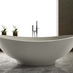 "Lorient Solid Surface Modern Bathtub 63"" -"