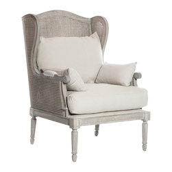 Kathy Kuo Home - French Country Washed Hemp Caned Back Wing Chair - With under stuffed loose cushions in Hemp. You will sink right into the Christopher Salon Chair.