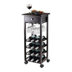 "Winsome Wood - Winsome Wood Marsala 12-Bottle Wine Cart with Espresso Finish X-51529 - The rolling wine bar features a handy drawer for corkcrews and other wine accessories.  It holds 12 bottles and the stemware rack holds up to 12 glasses.  This compact serving cart not only gives you a storage solution for wine but a convenient way to serve your guests. Inner drawer measures 11.65""W x 10.43""D x 2.75""H.  There is 3.43"" clerance between each wine rack.  Overall assembled product size is 15.20""W x 15.20""D x 36.61""H.  Constructed with combination of solid and composite wood in espresso finish.  Assembly required."