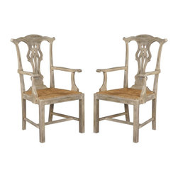 EuroLux Home - Pair Antique New Chippendale Dining Chairs - Product Details