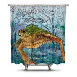 Shower Curtain HQ - Catherine Holcombe Shelley Shower Fabric Shower Curtain, Extra Long - Fabric shower curtain with art of a sea turtle swimming swimming along the ocean floor
