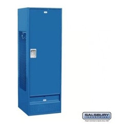 Salsbury Industries - Standard Gear Metal Locker - Solid Door - 6 Feet High - 24 Inches Deep - Blue - - Standard Gear Metal Locker - Solid Door - 6 Feet High - 24 Inches Deep - Blue - Assembled