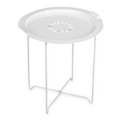 Umbra - Umbra Round Folding Tray Table in White - Round folding tray table features a unique folding cross-brace frame design that allows easy folding. Folds for compact storage.