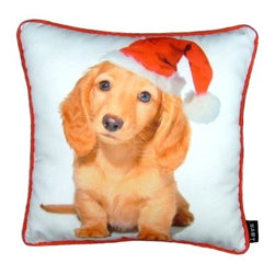Lava - Holiday Blond Dachshund 16X16 Decorative Pillow (Indoor/Outdoor) - 100% polyester cover and fill.  Suitable for use indoors or out.  Made in USA.  Spot Clean only