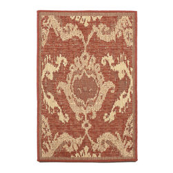 """Trans-Ocean - Ikat Red Rugs 8560/27 - 23""""X35"""" - Amazingly detailed pattern and beautifully blended yarns make this Machine Made rug rise above the rest.Wilton Woven in India of 100% Polypropylene and UV stabilized for Indoor or Outdoor use.A tight weave of Polypropylene allows for maximum design and textural appeal, and creates the look of natural fibers but is easy care."""