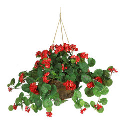 Nearly Natural - Geranium Hanging Basket Silk Plant - Spruce up your home or office space with these vibrant colored geraniums. Bold yet delicately crafted petals rest peacefully among a bed of rich leaves, with both large and small blooms adorning this expertly designed masterpiece. Between the lush, soft petals and the authentic colored leaves, you'll find yourself reaching for the watering can. A tasteful wicker planter filled with artificial soil adds to the natural appeal of this gorgeous geranium silk hanging basket. Colors: Red; Pot Size: W: 10 in, H: 6 in. Height: 24 in; Width: 32 in; Depth: 32 in.