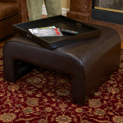 Wilson Brown Leather Tray Ottoman - The Duvall tray ottoman has a smooth leather finish with a surprise tray hidden beneath. The tray is drawer-like and can be used as extra storage or as a table-top.