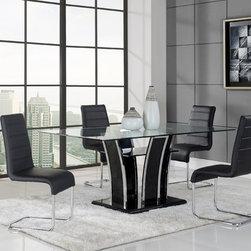 None - Chrome/ Black Glass Dining Table - This contemporary glass table features a sleek and unique design that will add bold style to your dining room. The rectangular base is finished in black while the chrome accents and glass top with a lower shelf complete the look.