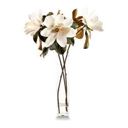 Tall and Elegant Magnolia Branches Botanical - The boldness of the large magnolia blossoms, lifelike and life-sized in this permanent botanical arrangement, creates a breathtaking contrast with the lightness of the geometric glass vase that holds the trio of detailed stems.  An upright element for enhancing the height of a tablescape or room, this arrangement of creamy blossoms makes a romantic statement.