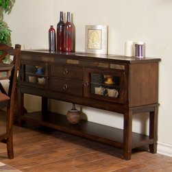 Sunny Designs - Santa Fe Server with 2 Drawers - Santa Fe Server with 2 Drawers; Distressed Birch Solids and Veneers; Natural African Slate; 2 Waterfall Glass door; Two adjustable shelves; 2 drawers with silverware tray; Weight: 146 lbs; Dimensions:60x18x36H